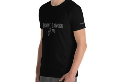 Kicking Cancer Black Tishirt on male